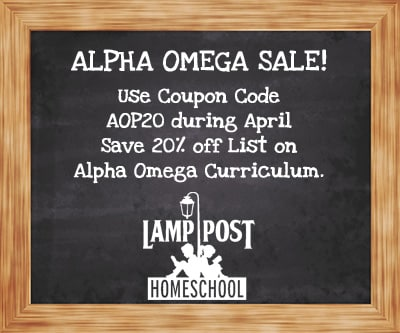 Save 20% on Alpha Omega At Lamp Post Homeschool with Coupon Code AOP20